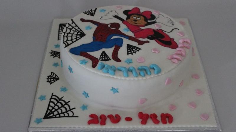 ספיידרמן ו מיני מאוס עוגת יום הולדת לבן ובת
