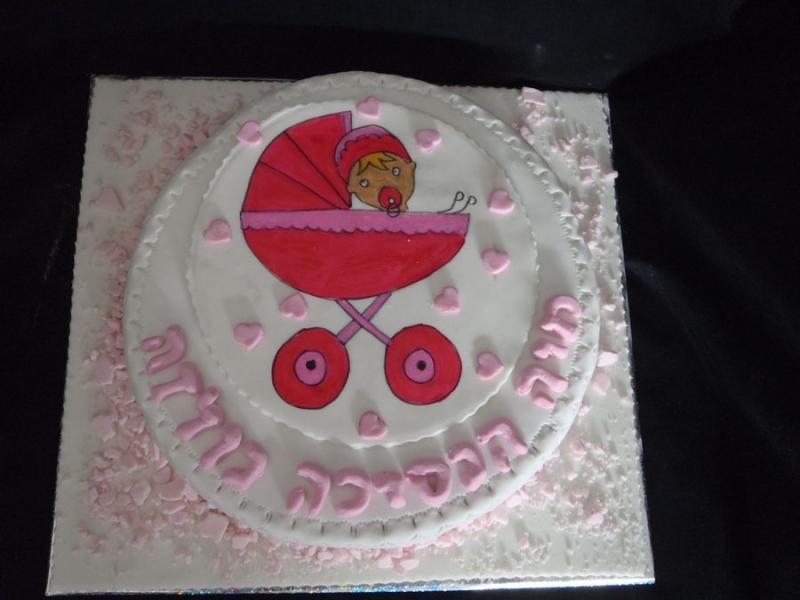 עוגה לבריתה תינוקת ועגלה