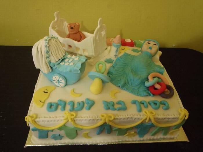עוגה לברית מילה עגלה תינוק מוצץ ועוד