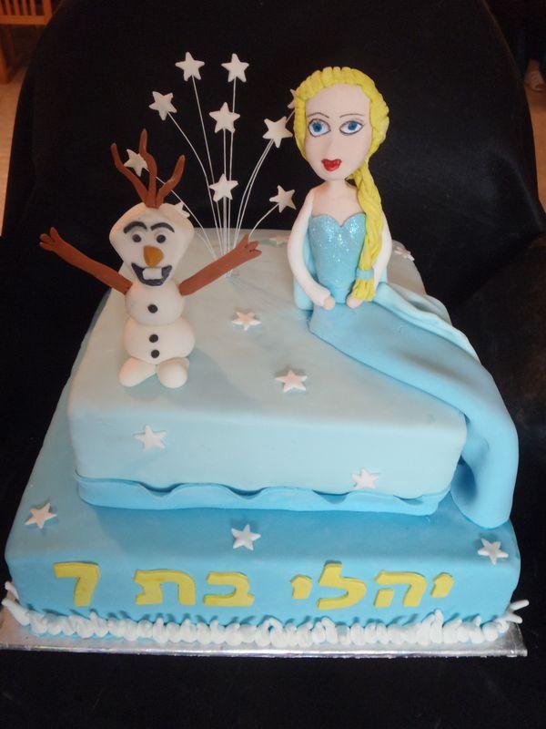 עוגה ליום הולדת מפוסלת אלזה ואולף מ לשבור את הקרח