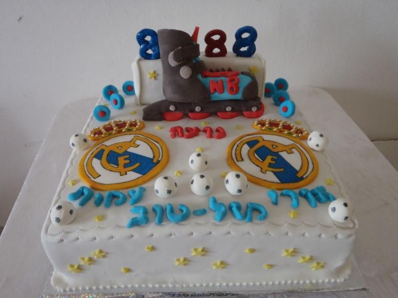 עוגה ליום הולדת רולרבליידס בפיסול ולוגו ריאל מדריד