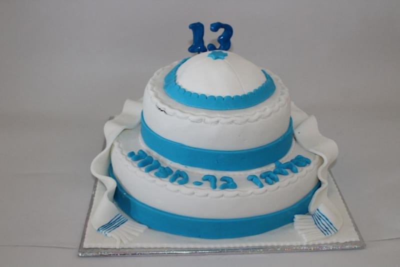עוגת בר מצווה כיפה וטלית בשני קומות