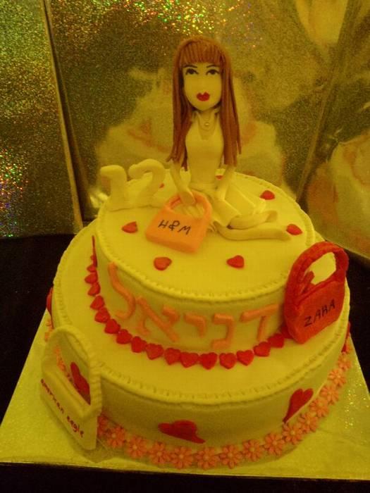 עוגת בת מצווה לילדת שופינג 2 קומות