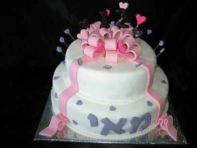 עוגת בת מצווה מתנה 2 קומות