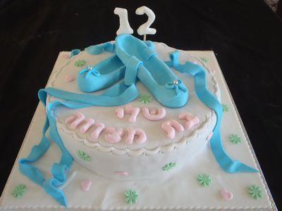 עוגת בת מצווה נעלי בלט בפיסול
