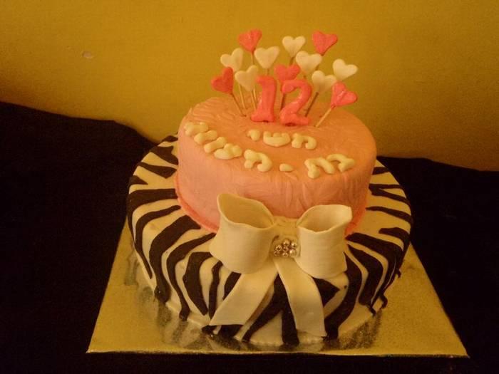 עוגת בת מצווה פפיון על קומת זברה