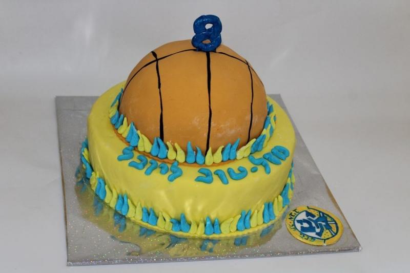 עוגת יום הולדת כדור כדורסל מכבי תל אביב
