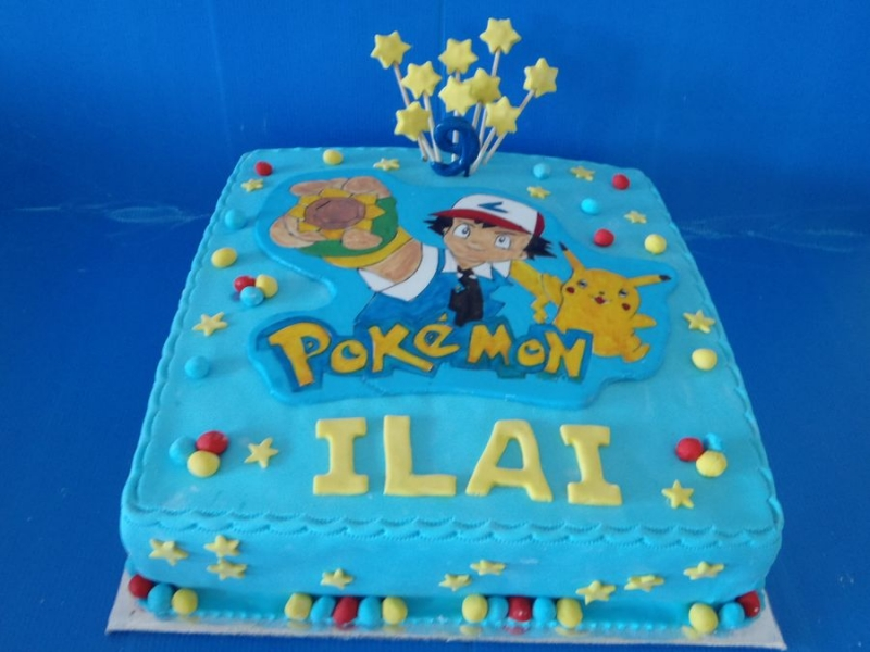 עוגת יום הולדת  לבנים פוקימון