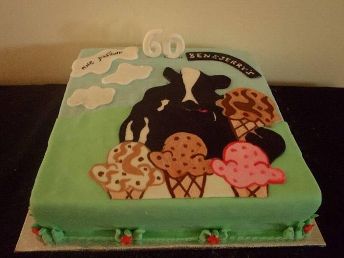 עוגת יום הולדת לעסק פרה עם גלידה