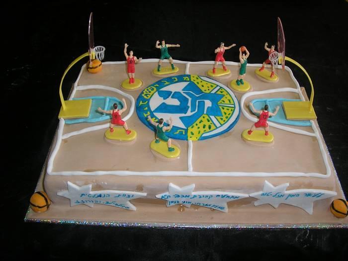 עוגת יום הולדת מגרש כדורסל מכבי תל אביב