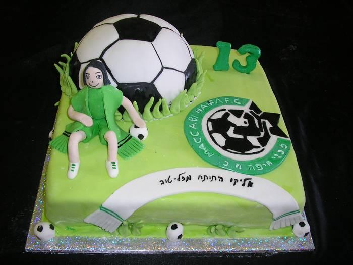 עוגת יום הולדת מכבי חיפה כדור כדורגל שחקן ולוגו