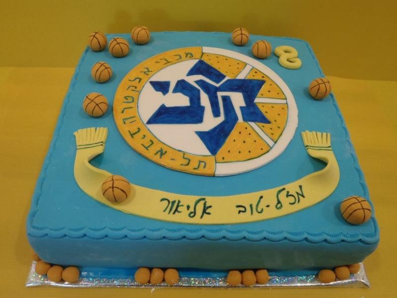 עוגת יום הולדת מכבי תל אביב כדורסל וכדורים מפוסלים