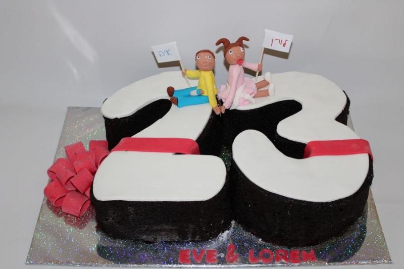 עוגת יום הולדת מספר כעוגה ואיב ולורן מפוסלים