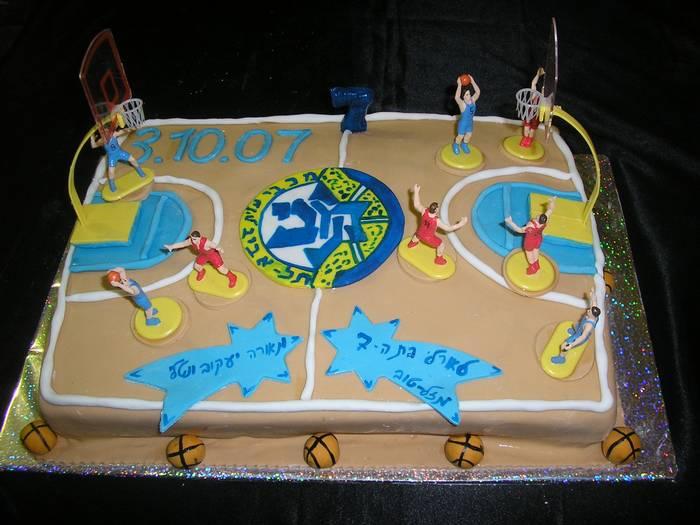 עוגת יומולדת מגרש כדורסל מכבי תל אביב