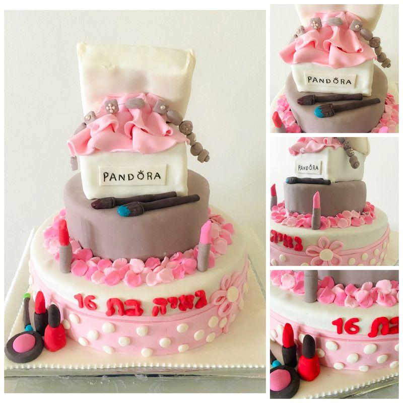 עוגת תיבת פנדורה מפוסלת עם תכשיטים ואיפור