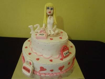 עוגת בת מצווה לילדת שופינג