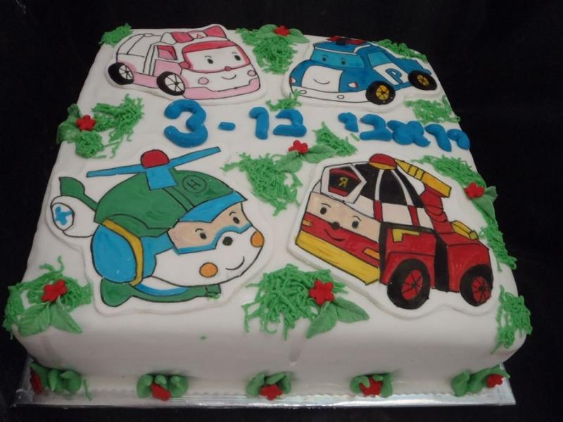 robocar cake עוגת רובוכאר ליום הולדת